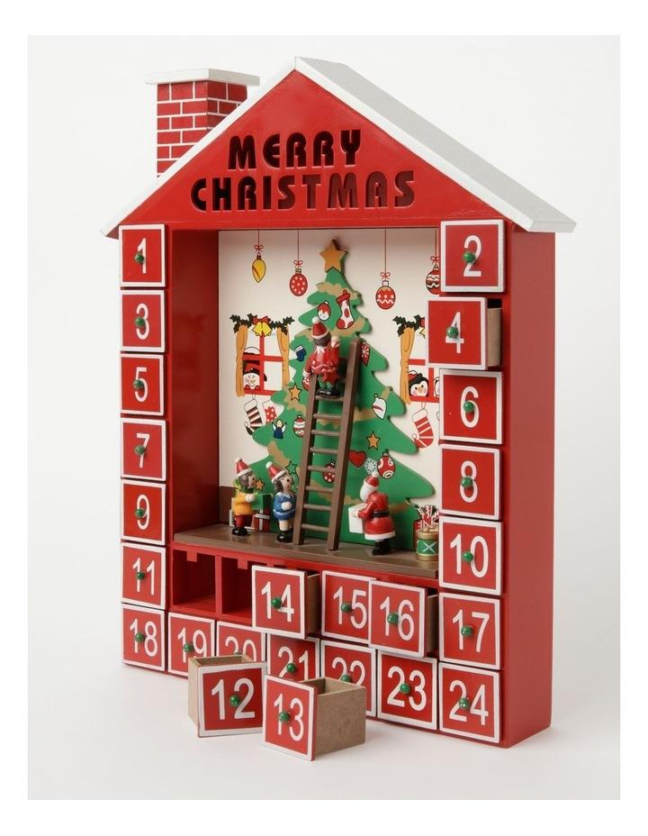 Merry & Bright Wooden Festive Tree Scene Calendar- Red: 38cm image 2