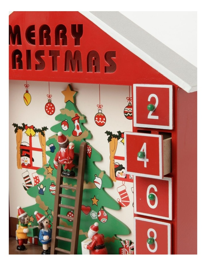 Merry & Bright Wooden Festive Tree Scene Calendar- Red: 38cm image 3