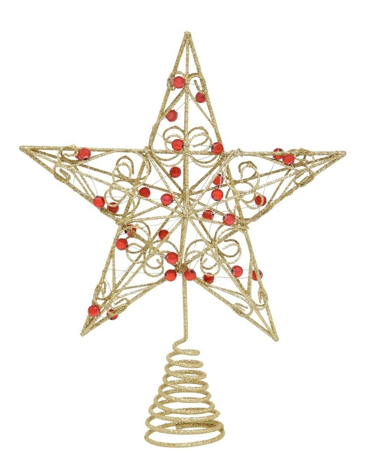 Heirloom Gold Star Tree Topper With Red Gems image 1