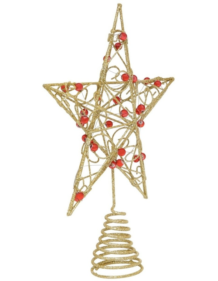 Heirloom Gold Star Tree Topper With Red Gems image 2