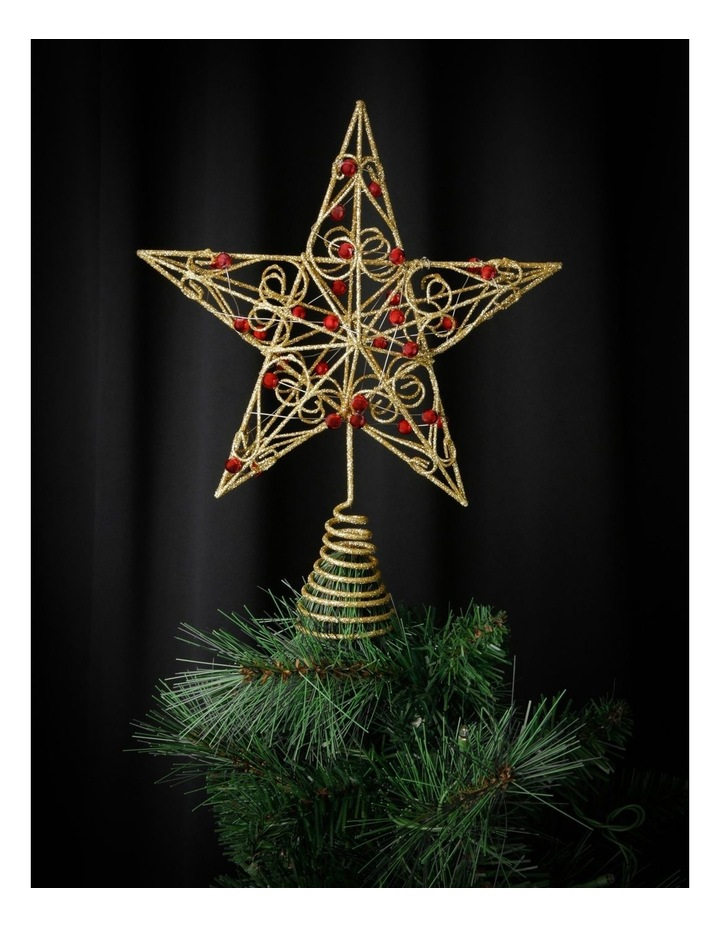 Heirloom Gold Star Tree Topper With Red Gems image 3