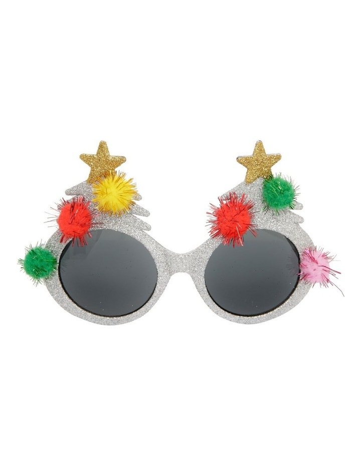 Merry & Bright Silver Tree with Pom-Pom Plastic Party Glasses image 1