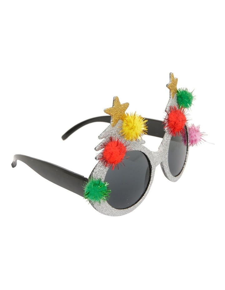 Merry & Bright Silver Tree with Pom-Pom Plastic Party Glasses image 2