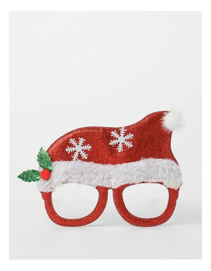 Merry & Bright Plastic Santa Hat Novelty Glasses- Red: 13 cm image 1