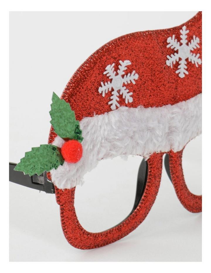Merry & Bright Plastic Santa Hat Novelty Glasses- Red: 13 cm image 3