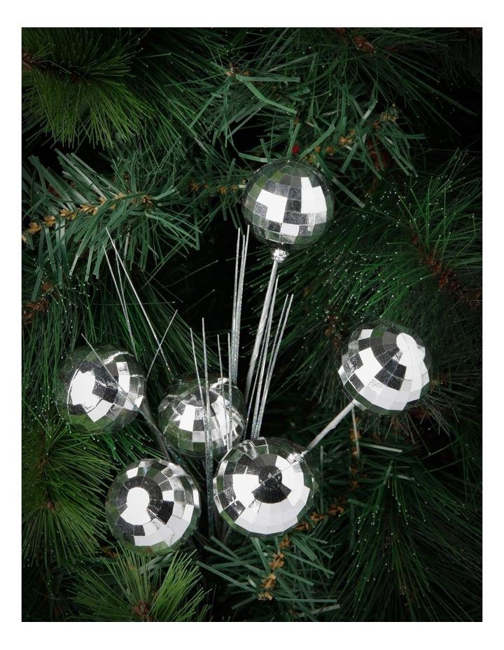 Merry & Bright Silver Disco Ball & Pine Spray Pick image 3