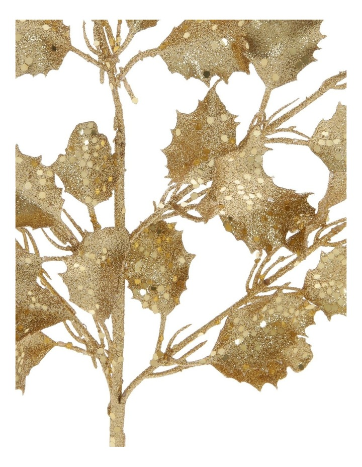 Heirloom Gold Glittered Faux Holly Leaves Spray Pick image 2
