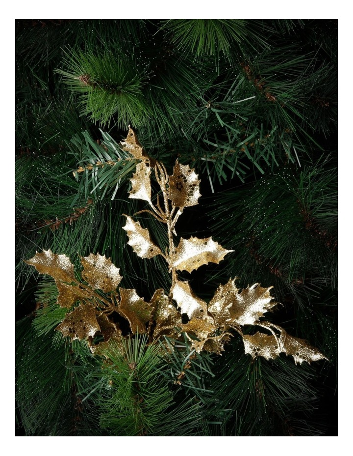 Heirloom Gold Glittered Faux Holly Leaves Spray Pick image 3