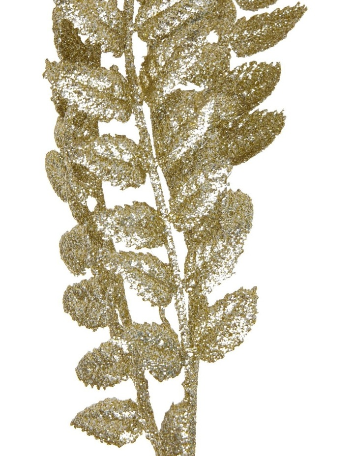 Luxe Champagne Glittered Faux Laurel Leaf Spray Pick image 3