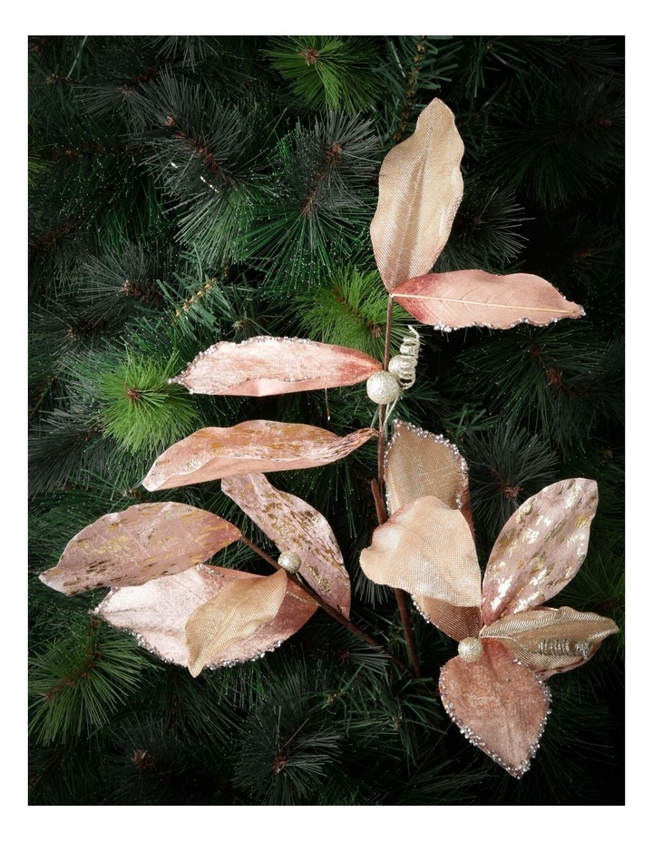 Luxe Faux Pink Magnolia Leaf Glitter Pick image 3