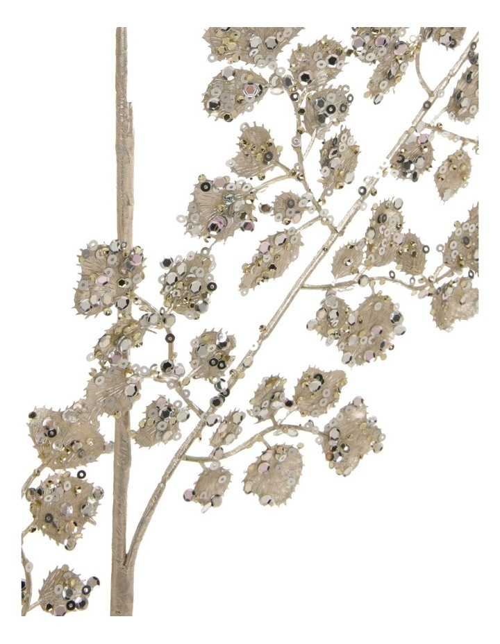 Luxe Champagne Glittered Faux Fern Leaf Spray Pick image 2