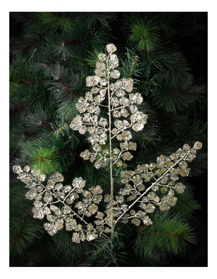 Luxe Champagne Glittered Faux Fern Leaf Spray Pick image 3