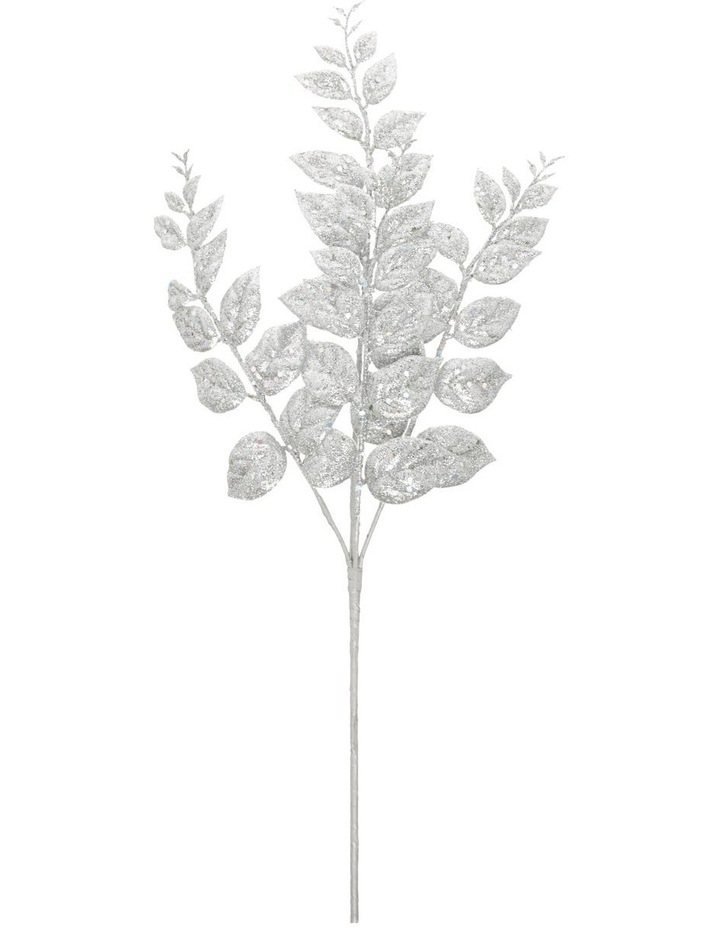 Luxe Silver Glittered Faux Leaves Spray Pick image 1