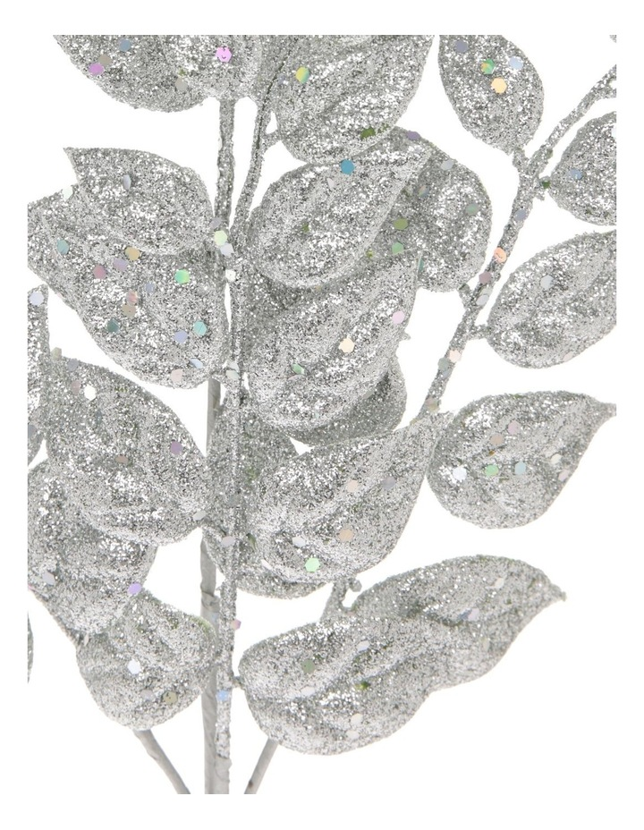 Luxe Silver Glittered Faux Leaves Spray Pick image 2