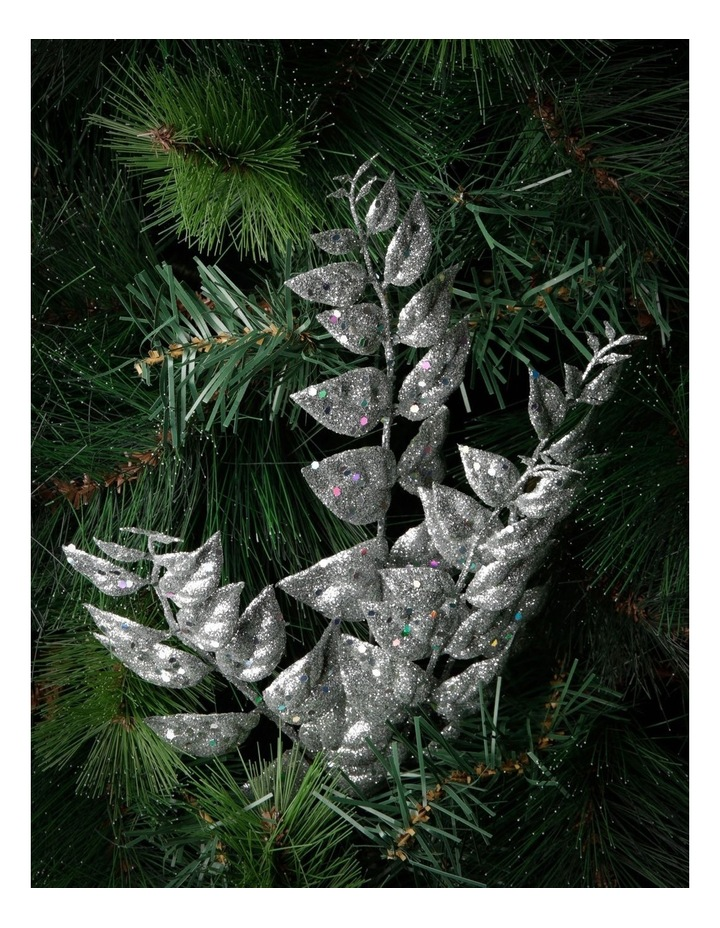 Luxe Silver Glittered Faux Leaves Spray Pick image 3