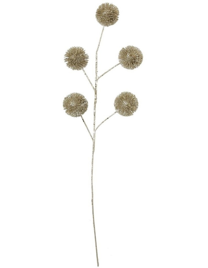 Luxe Champagne Glittered Faux Globe Thistle Spray Pick image 1