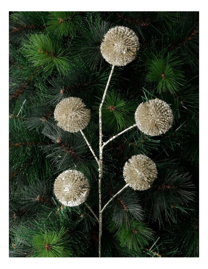 Luxe Champagne Glittered Faux Globe Thistle Spray Pick image 2