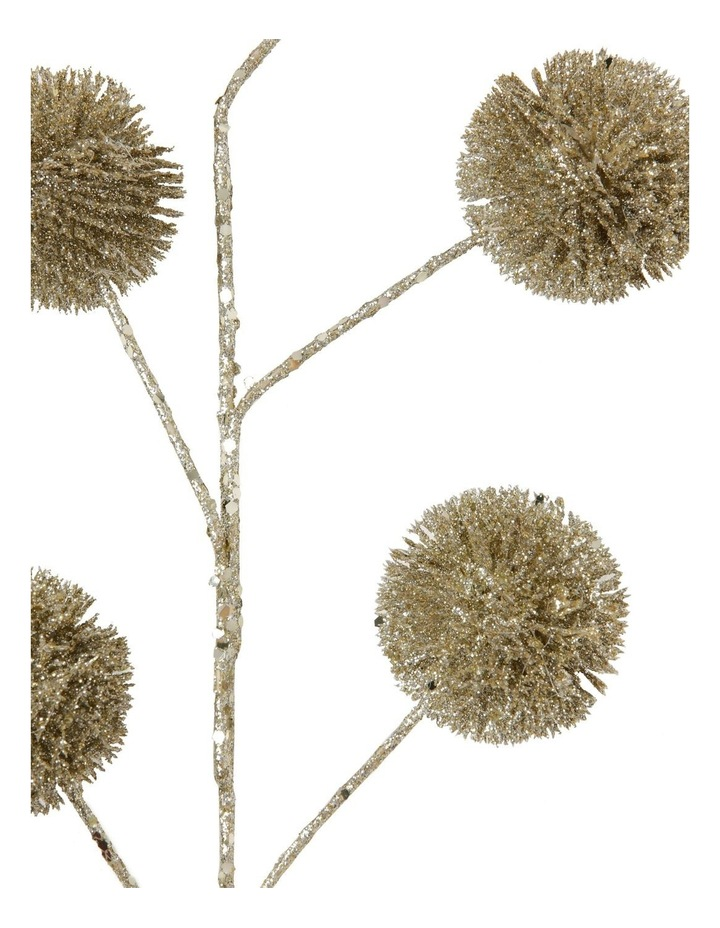 Luxe Champagne Glittered Faux Globe Thistle Spray Pick image 3