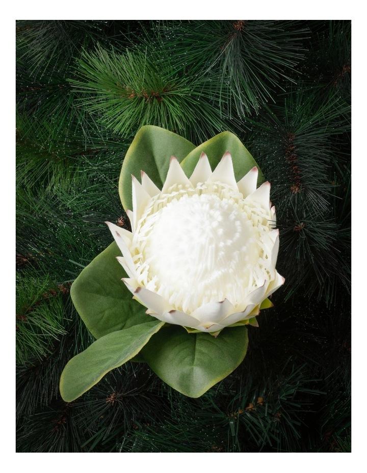 Eucalyptus Faux King Protea Flower Pick- White: 50cm image 1
