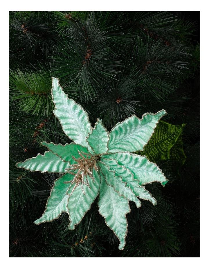 Luxe Velvet Poinsettia w/ Glitter Pick- Mint: 50cm image 1