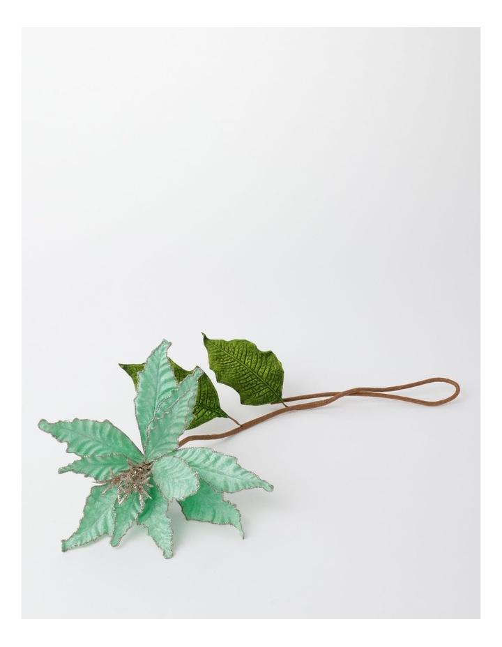 Luxe Velvet Poinsettia w/ Glitter Pick- Mint: 50cm image 2