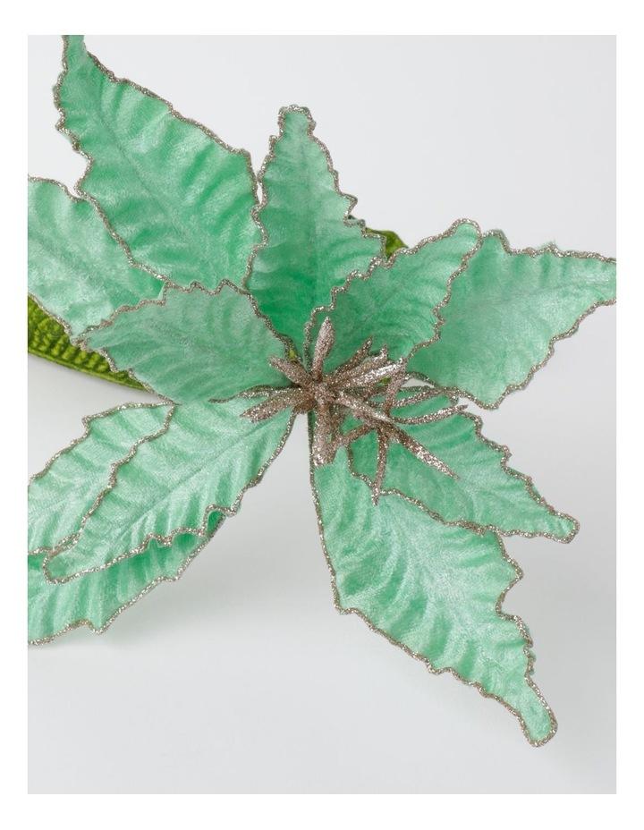 Luxe Velvet Poinsettia w/ Glitter Pick- Mint: 50cm image 3