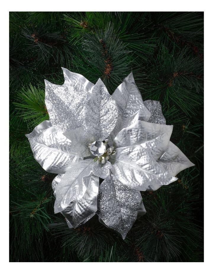 Eucalyptus Plastic Poinsettia with Glitter Pick- Silver: 40cm image 1