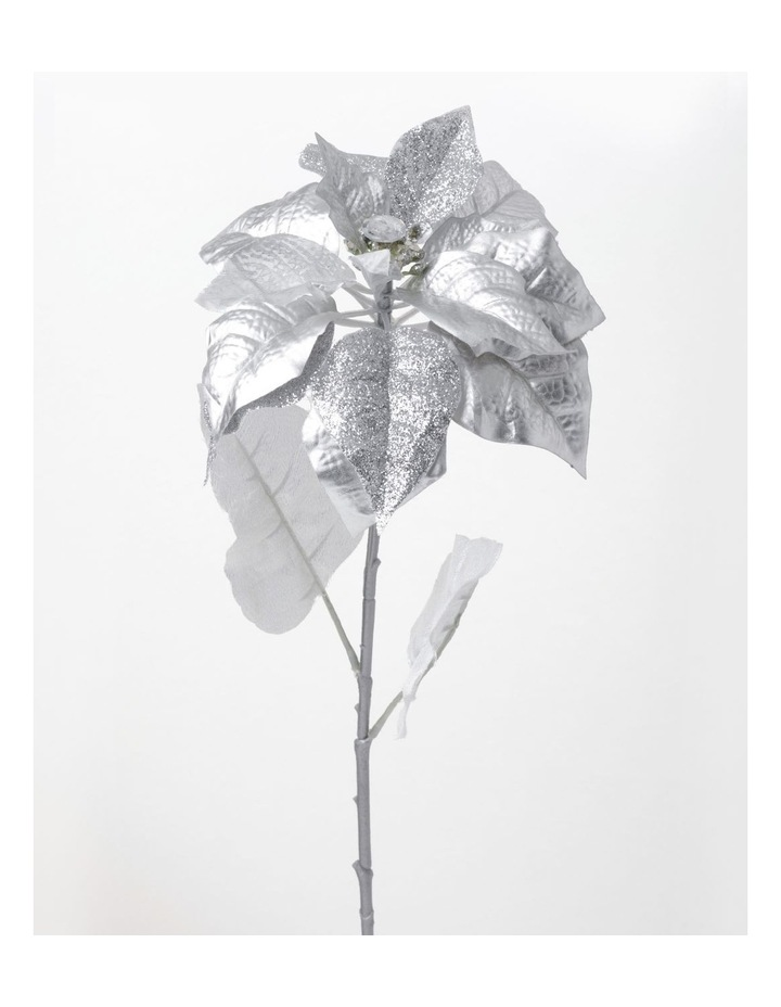 Eucalyptus Plastic Poinsettia with Glitter Pick- Silver: 40cm image 2
