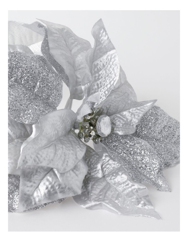 Eucalyptus Plastic Poinsettia with Glitter Pick- Silver: 40cm image 3
