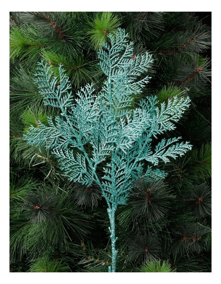 Luxe Glittered Faux Cypress Pine Spray Pick- Mint: 50cm image 1
