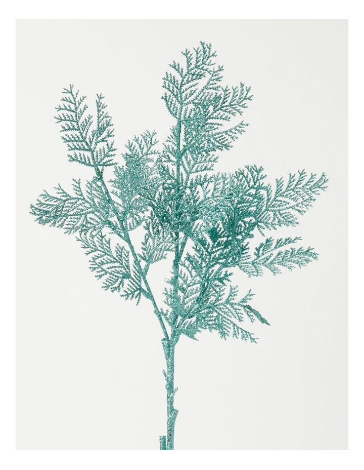 Luxe Glittered Faux Cypress Pine Spray Pick- Mint: 50cm image 2