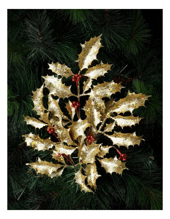 Heirloom Glittered Faux Holly Leaves & Berry Spray Pick- Gold: 50 cm image 1
