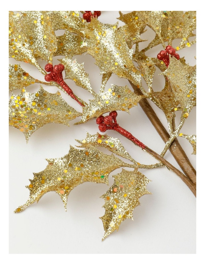 Heirloom Glittered Faux Holly Leaves & Berry Spray Pick- Gold: 50 cm image 3