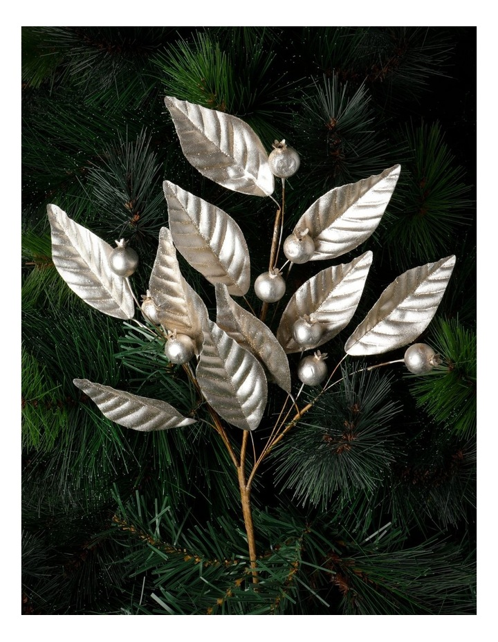 Luxe Faux Pomegranate & Leaves Spray Pick- Champagne: 50 cm image 1