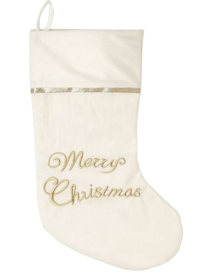 Luxe White Merry Christmas Stocking image 1