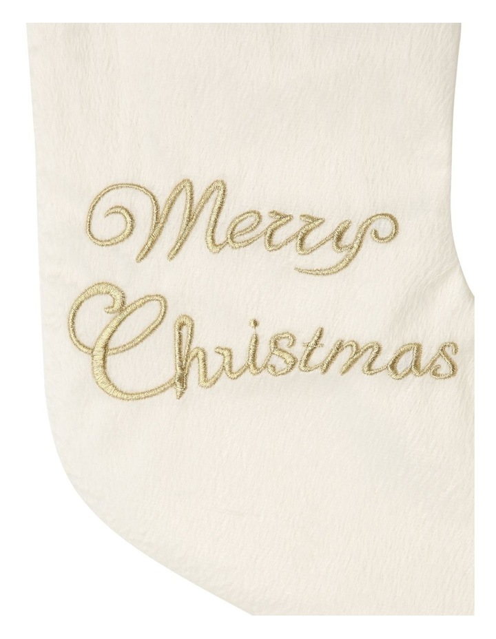 Luxe White Merry Christmas Stocking image 2