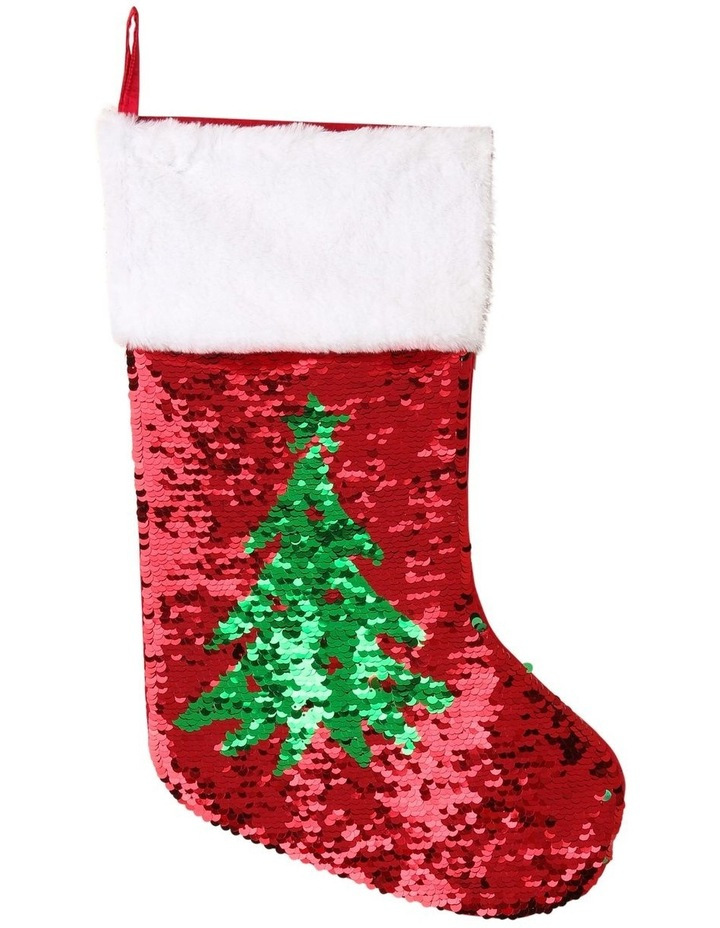 Merry & Bright Reversible Sequin Pine Tree Stocking - Red/Green 43 cm image 1