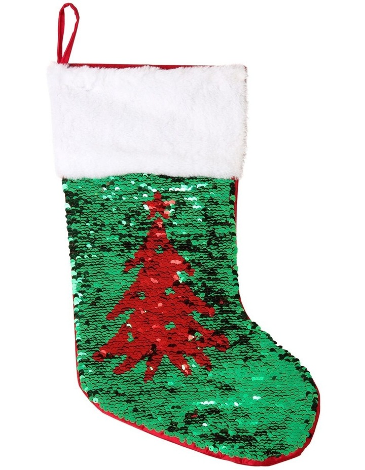 Merry & Bright Reversible Sequin Pine Tree Stocking - Red/Green 43 cm image 2