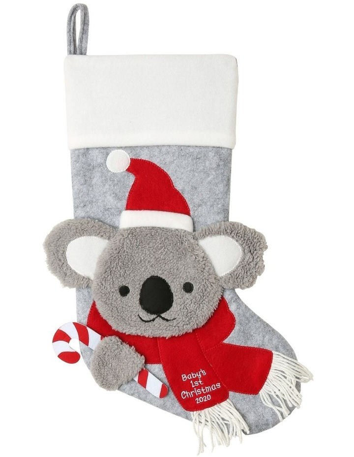 Merry & Bright Baby's 1st Koala Face with Santa Hat & Scarf Stocking - Grey/Red 44 cm image 1
