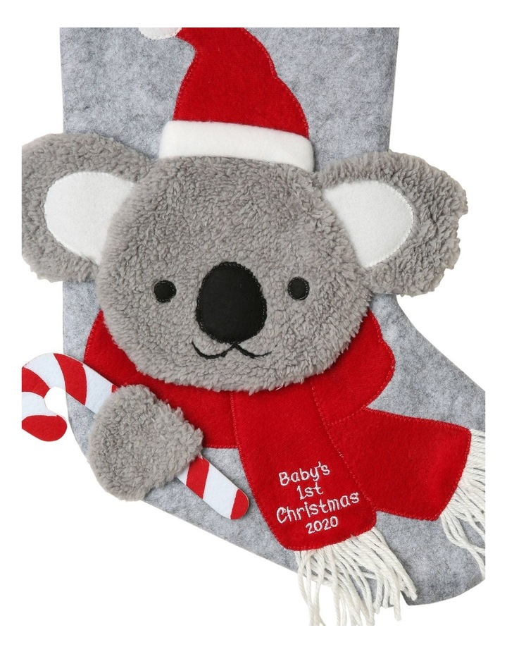 Merry & Bright Baby's 1st Koala Face with Santa Hat & Scarf Stocking - Grey/Red 44 cm image 2