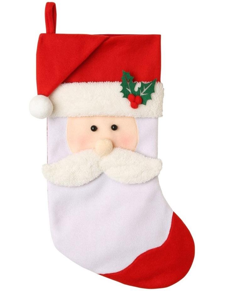 Merry & Bright Fabric & Felt Santa Stocking - Red/White 42 cm image 1