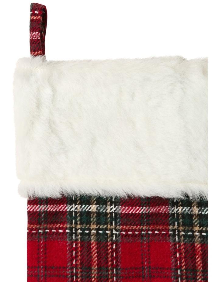 Heirloom Fabric Tartan Plaid with Fur Trim Stocking - Multi 51 cm image 2