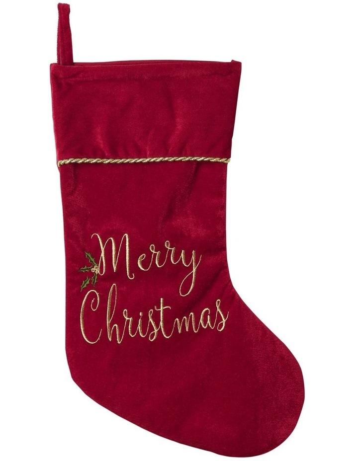 Heirloom Velvet Embroidered 'Merry Christmas' Stocking - Red 43 cm image 1