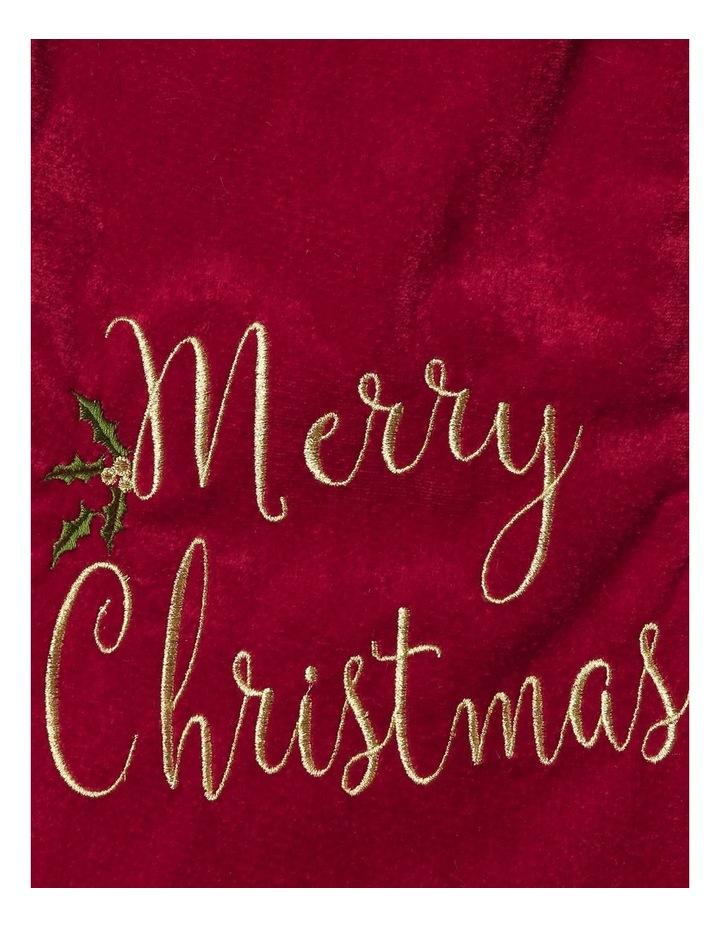 Heirloom Velvet Embroidered 'Merry Christmas' Stocking - Red 43 cm image 2