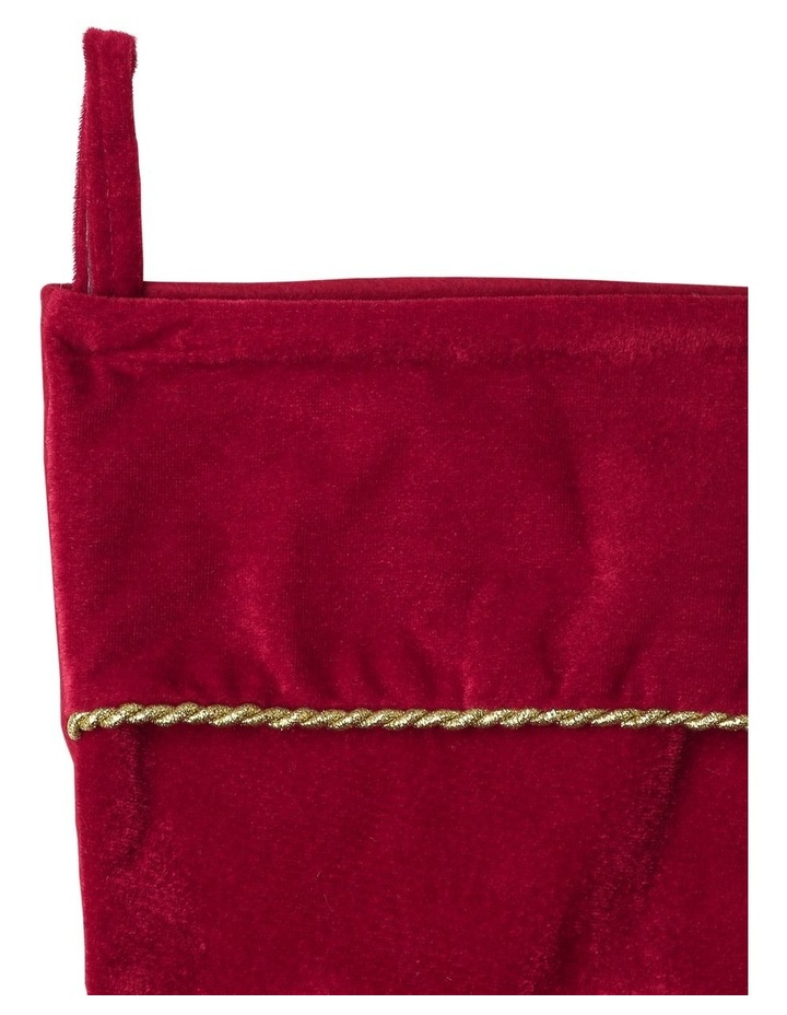 Heirloom Velvet Embroidered 'Merry Christmas' Stocking - Red 43 cm image 3
