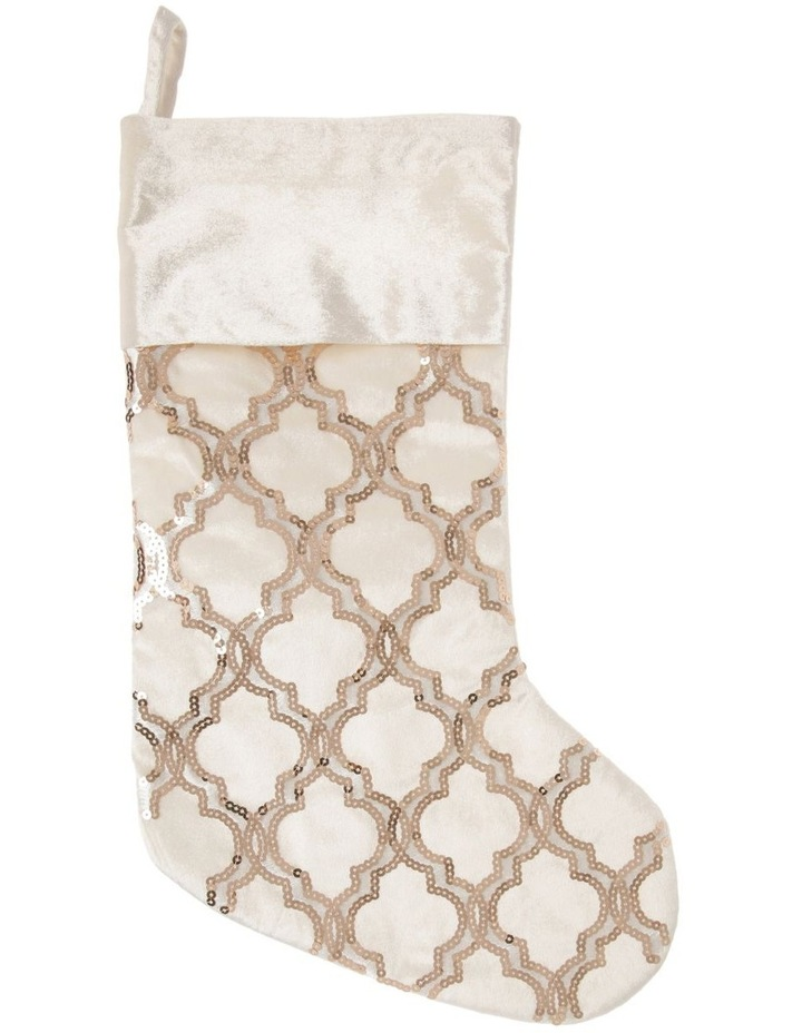 Luxe Fabric Sequinned Deco with Trim Stocking - Champagne/White 43 cm image 1