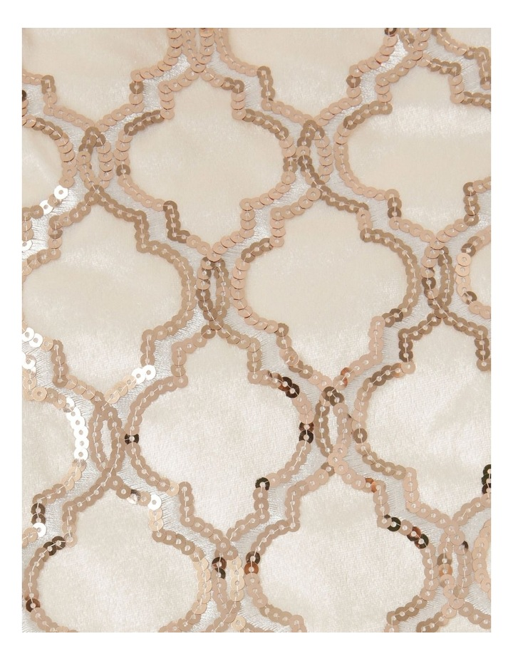 Luxe Fabric Sequinned Deco with Trim Stocking - Champagne/White 43 cm image 2