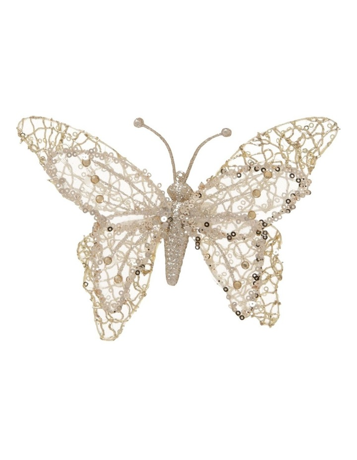 Luxe Gold Glitter Mesh Butterfly Clip-On Ornament image 1