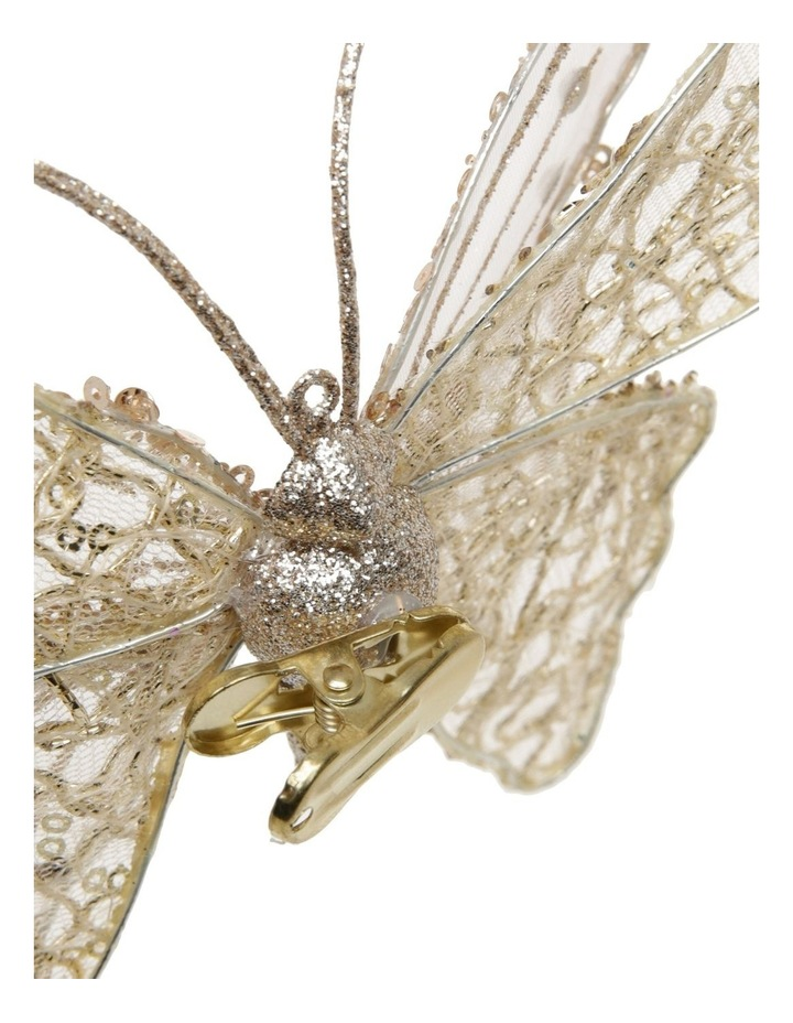 Luxe Gold Glitter Mesh Butterfly Clip-On Ornament image 2
