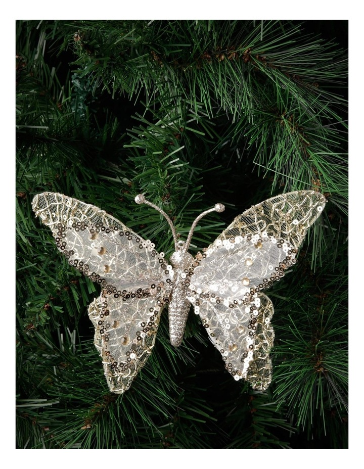 Luxe Gold Glitter Mesh Butterfly Clip-On Ornament image 3